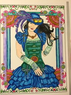 Creative Havens Steampunk Fashions. Tombow markers on watercolor paper.