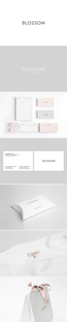 Branding / Identity / Graphic Design / Blossom Brand Identity by Reef Design - white and light pastel colors stationary design - minimalist design and typeface Web Design, Logo Design, Brand Identity Design, Graphic Design Branding, Typography Design, Packaging Design, Bakery Packaging, Corporate Design, Corporate Identity