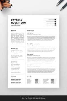 Take your resume to the next level with this professional resume template. The minimalist design and the compact layout with a well-organized structure help you convey important information quickly and effectively. Create your new resume today! One Page Resume Template, Modern Resume Template, Creative Resume Templates, Creative Cv, Cover Letter For Resume, Cover Letter Template, Cv Words, Word Online, Microsoft Word 2007