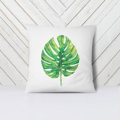 Monstera Leaf Pillow Cover in green - Decorative throw pillow - Home decor - Green and White - Plant Print, Banana Leaf Print