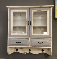 Wooden French Gl Wall Cabinet Vintage Storage Unit Hooks Shelves Drawers In Home Furniture