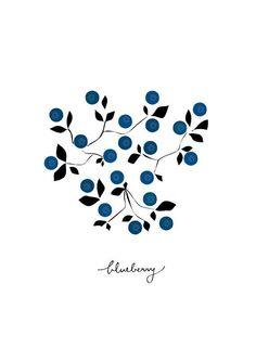 Blueberry Art print Geometry Vegetable Fruit Drawings by dekanimal