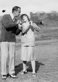 jeannecrains@tumblr.com: Douglas Fairbanks and Mary Pickford playing golf, 1925-29