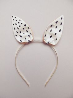 Bunny Hairband white with black dots