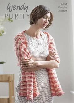 Simple striping in a wavelike pattern makes this shawl a wardrobe win. Kit includes Wendy Purity yarn and intermediate crochet instructions. 21 x x Imported from Europe. Requires US size hook to complete. Crochet Mandala, Knit Or Crochet, Free Crochet, Crochet Shawls And Wraps, Knitted Shawls, Crochet Designs, Crochet Instructions, Shawl Patterns, Ponchos