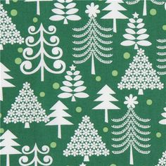 green Michael Miller Christmas fabric Holiday Trees  beautiful Christmas fabric from the USA