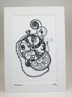 Steampunk Timepiece Clockwork 1 Gears 3 Sizes by KateKreatesArt, $16.00