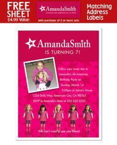 8 American Girl Doll Birthday Party Invitations | eBay