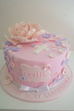 pretty flower cake | Pretty Flower communion cake