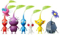 Pikmin Species -Pink (Flying), Red (Fire Proof), Purple (Can Carry Lots Of Weight), Blue (Can Survive In Water), White (Poison Proof), Yellow (Electricity Proof), Rock (Crush Proof).