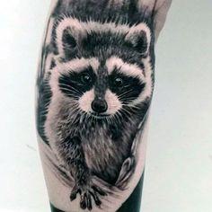 Gentleman With Realistic Raccoon Arm Tattoo