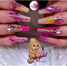 ⚜️Pink & Yellow Blossom⚜️ Inspired by I used Glitterbels Products :- Peacherbel Cover Glamandglits colours in :- Custom mixed… Dope Nails, Bling Nails, Fun Nails, Summer Acrylic Nails, Best Acrylic Nails, Elegant Nails, Stylish Nails, Beautiful Nail Designs, Cute Nail Designs