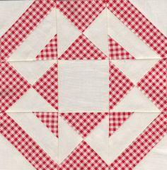 Jack knife block - Farmer's wife quilt sampler Love the gingham Quilt Block Patterns, Pattern Blocks, Quilt Blocks, Patch Quilt, Quilting Projects, Sewing Projects, Farmers Wife Quilt, Red And White Quilts, Civil War Quilts