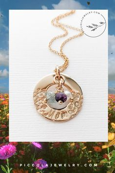"""The 14k gold fill botanical ring family pendant hand can be stamped with """"Mom"""" is personalized with birthstones to carry a reminder of her special people, every day. Makes a unique gift to celebrate the birth of a new baby, or a Mother's day gift any woman would treasure. Makes the best gift idea for a Mom of 1 2 3 or 4 kids. Family Necklace, Ring Necklace, Unique Gifts, Best Gifts, Mom Ring, Mother Rings, Special People, 4 Kids, Personalized Jewelry"""