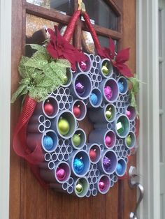 PVC pipe and ornament Christmas wreath.