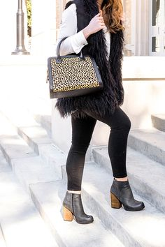 Fun Fur Vest, black skinnies and black booties | winter style | winter fashion | styling for winter | cold weather fashion | fashion for winter || a lonestar state of southern