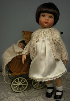 Dorothy (tribute doll) by artist Nancy Lee Moran 2010, repainted doll Riley Kish as 1920s American girl, dress and sweater coat by Chiditta, Boneka leather shoes