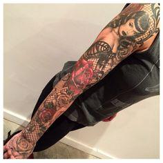 Marco Vergel sleeve Miami Dope Tattoos, Dream Tattoos, Girly Tattoos, Body Art Tattoos, Sleeve Tattoos, Tatoos, 3 Tattoo, Lace Tattoo, Tattooed Women