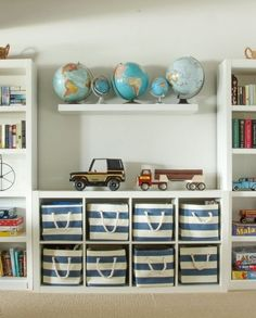 farmhouse playroom with ikea toy storage, ikea storage ideas in kid room design, kid activity desk and kid wall art in playroom design or kid space in bonus room, cubbies for organization in kid room decor Kids Bedroom Organization, Toy Organization, Organizing Toys, Organizing Ideas, Storage Ideas Living Room, Playroom Design, Playroom Decor, Bedroom Decor, Bedroom Shelves