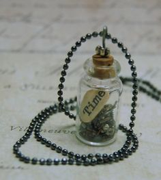 Time in a Bottle Necklace Watch Gears Romantic by Azzieattic, $12.00 some one very dear to me is making this amazing jewlery