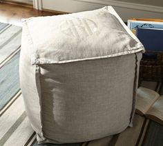 Linen Flange Cube Cover | Pottery Barn