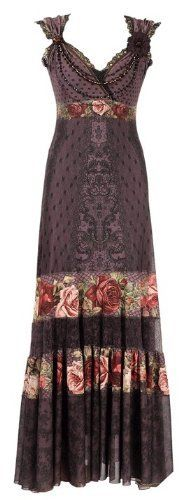 Conspicuous Special Occasion Full-length Dress Created By Michal Negrin With Victorian Roses Pattern Swarovski Crystals Lace Trim And Crinkled Hemline