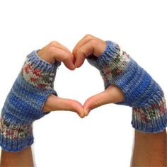 Blue Hand Knit Fingerless Gloves Handwarmers Women Teen Mittens Large | EweniqueEssentials - Accessories on ArtFire