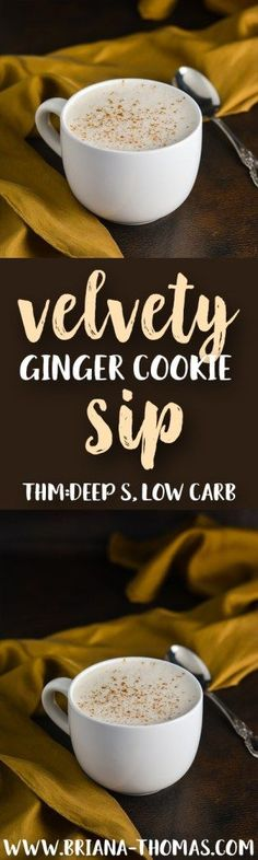 Velvety Ginger Cookie Sip - THM Deep S - low carb - high fat - sugar free - gluten free - egg free - dairy free option - nut free option - Trim Healthy Mama friendly - Bulletproof style (Lactose Free Desserts Christmas) Sugar Free Desserts, Sugar Free Recipes, Low Carb Desserts, Low Carb Drinks, Healthy Drinks, Deeps, Healthy Carbs, Healthy Life, Healthy Meals