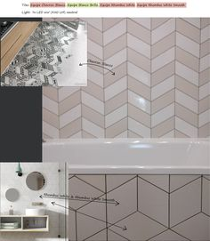 Equipe Chevron and Rhombus tiles (all white) - real photo vs catalogue