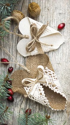 Hearts Christmas Ornaments, Home Decor, Burlap Heart, Holiday Gift, Wedding Decoration, Rustic Birthday Present