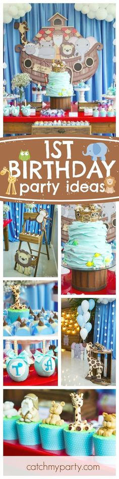 Don't miss this awesome Noahs Ark 1st birthday party! The birthday cake is amazing!!! Absolutely love it!! See more party ideas and share yours at CatchMyParty.com