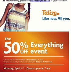 Deal Alert (CDN): Talize 50% Off Everything April 1,2013. Happy Shopping! #deal #alert #canada #talize #shopping #thriftstore #sale #budget #secondhand #clothing #fashion #clothing