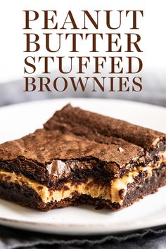 May 2020 - Peanut Butter Stuffed Brownies are chewy, fudgy chocolate brownies stuffed with a thick layer of peanut butter for the best treat. Easy, homemade, from-scratch recipe - no boxed mix here! The best dessert idea for a crowd too! Chocolate Desserts, Easy Desserts, Delicious Desserts, Chocolate Truffles, Baking Chocolate, Chocolate Cream, Healthy Chocolate, Chocolate Covered, Cannoli