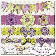 Vintage Pansies Clusters Digital Scrapbooking Bundle: Papers, Pansy Clipart, Chipboard, Fabric Elements