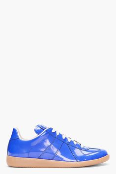 MAISON MARTIN MARGIELA   Blue Patent Leather Sneakers
