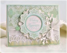 card designed by Debbie Olson using JustRite Grandma's Doilies, Old Friends, and Lace Borders