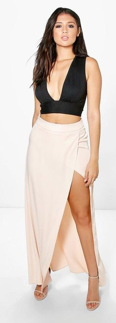 Boutique Pia Satin Thigh Split Maxi Skirt - Skirts  - Street Style, Fashion Looks And Outfit Ideas For Spring And Summer 2017