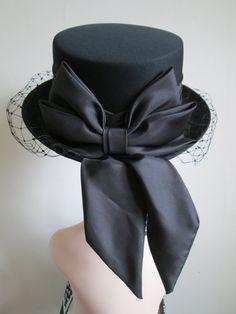 50s Style Black Riding Hat Big Bow