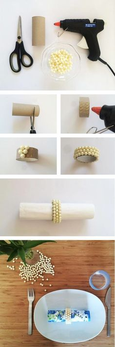 15 Ideias Legais de Porta-Guardanapos – Artesanato Passo a Passo! Diy And Crafts, Arts And Crafts, Toilet Paper Roll Crafts, Tissue Roll Crafts, Deco Table, Decoration Table, Party Accessories, Christmas Crafts, Napkin Rings Diy Christmas