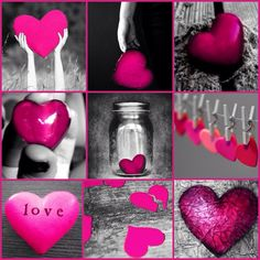 My Creation: Pink Heart Color Splash Collage ~ by Ladee Pink