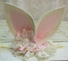 Shabby Chic Ivory Vintage Lace Bunny Ears Headband by cd1ofakind