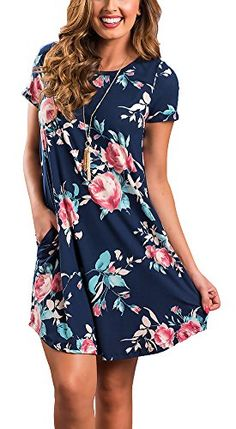 3cf04789ddd99 Women s Floral Summer Short Sleeve Casual Swing Tunic Midi T-shirt Dress  with Pockets Plus