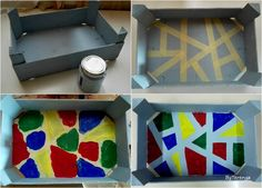 Caja de frutas con estilo geométrico