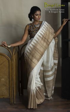 Pure Tussar Handloom Saree Available For Sale From Bengal Looms