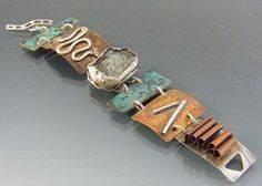 Metal Mosaic Bracelet Mixed Metals Drusy Toggle Clasp by isajul, $225.00