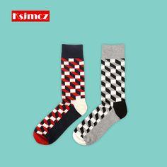 >> Click to Buy << 1 Pair KSJMCZ British Style Business Plaid Men's Socks Pure Cotton Long Socks Happy Sock #Affiliate