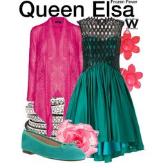 Inspired by Queen Elsa in the 2015 Disney short Frozen Fever. Disneybound Outfits, Disney Outfits, Cute Outfits, Movie Outfits, Frozen Inspired Outfits, Disney Inspired Fashion, Disney Fashion, Festa Frozen Fever, Frozen Fashion