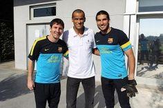 @13_Pinto ha colgado en su twitter esta foto, la de una visita ilustre al entrenamiento del Barça: Rivaldo
