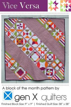 Image of Vice Versa BOM Sampler Quilt Pattern PDF