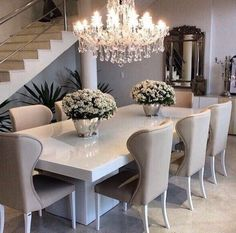 Elle Decor Living Room Table Elegant Dining Room Table Decorating Beautiful Dinner Table Decor S Media Elegant Dining Room, Luxury Dining Room, Dining Room Design, Dining Room Furniture, Dining Area, Dining Chairs, Room Chairs, Furniture Ideas, White Dining Table Modern